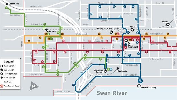 Les bus gratuits à Perth