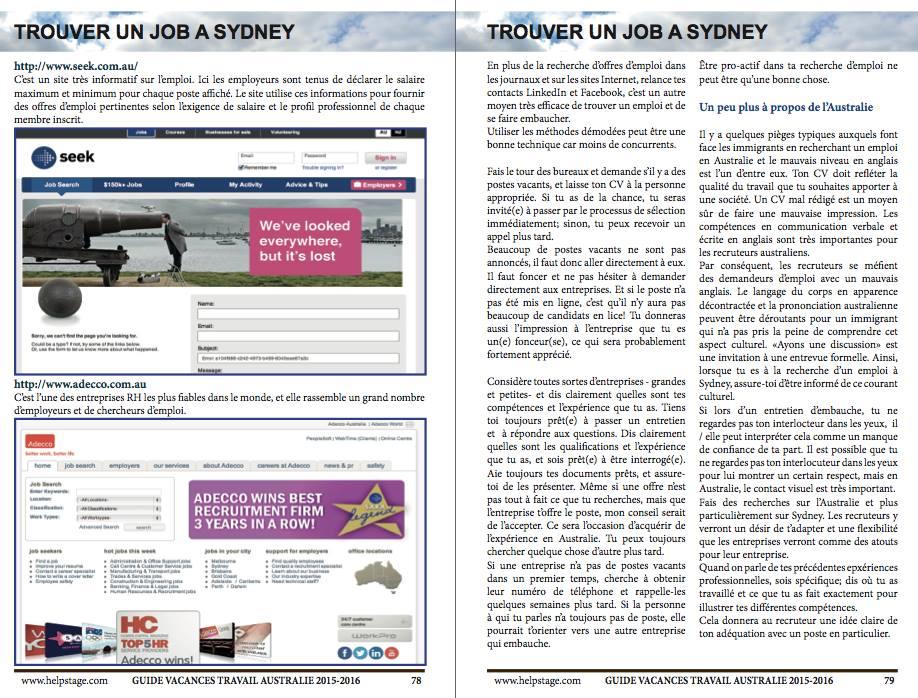 Trouver un job Guide Visa Vacances Travail Australie 2