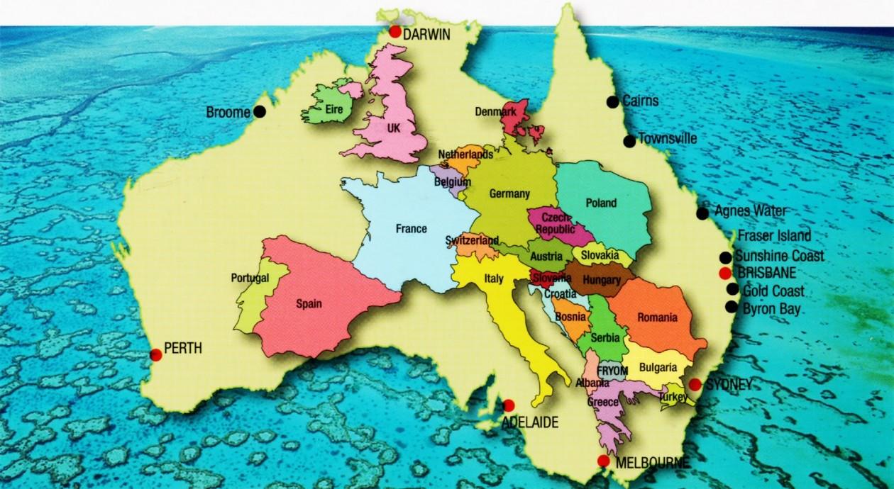 Carte Australie Grande Ville.Comparaison Entre La Superficie De L Australie Et Le Monde