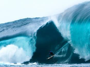 Surfer Mark Mathews enclosed in a wave in Western Austraila, 2011.