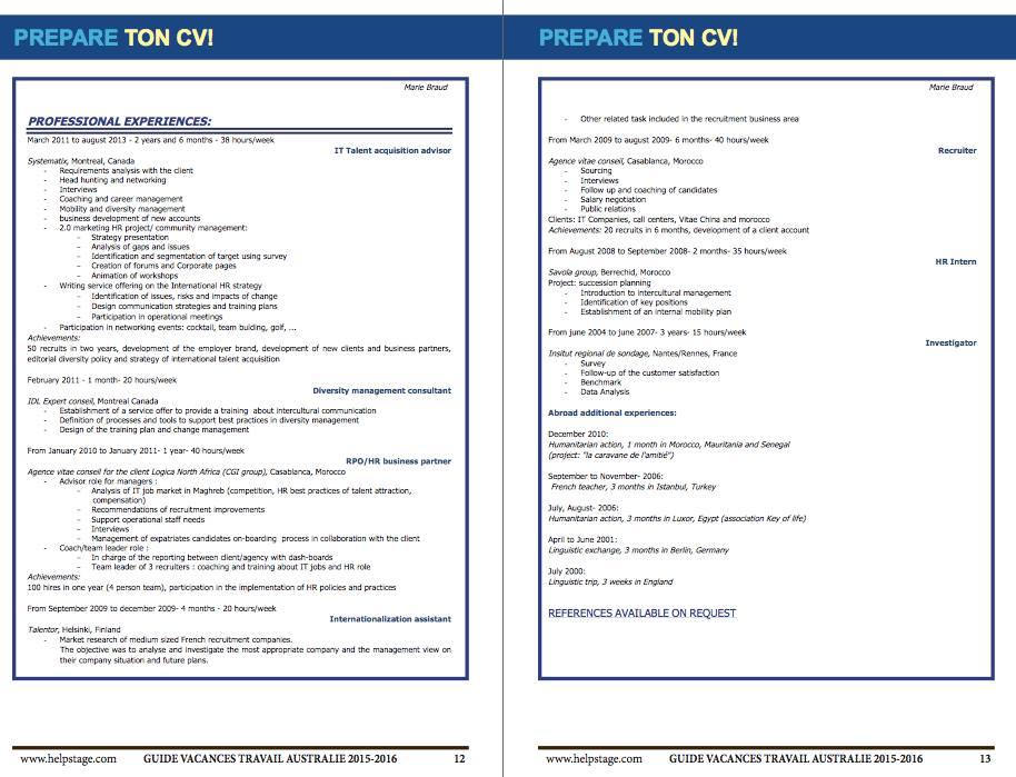 Extrait CV Guide Visa Vacances Travail Australie 1