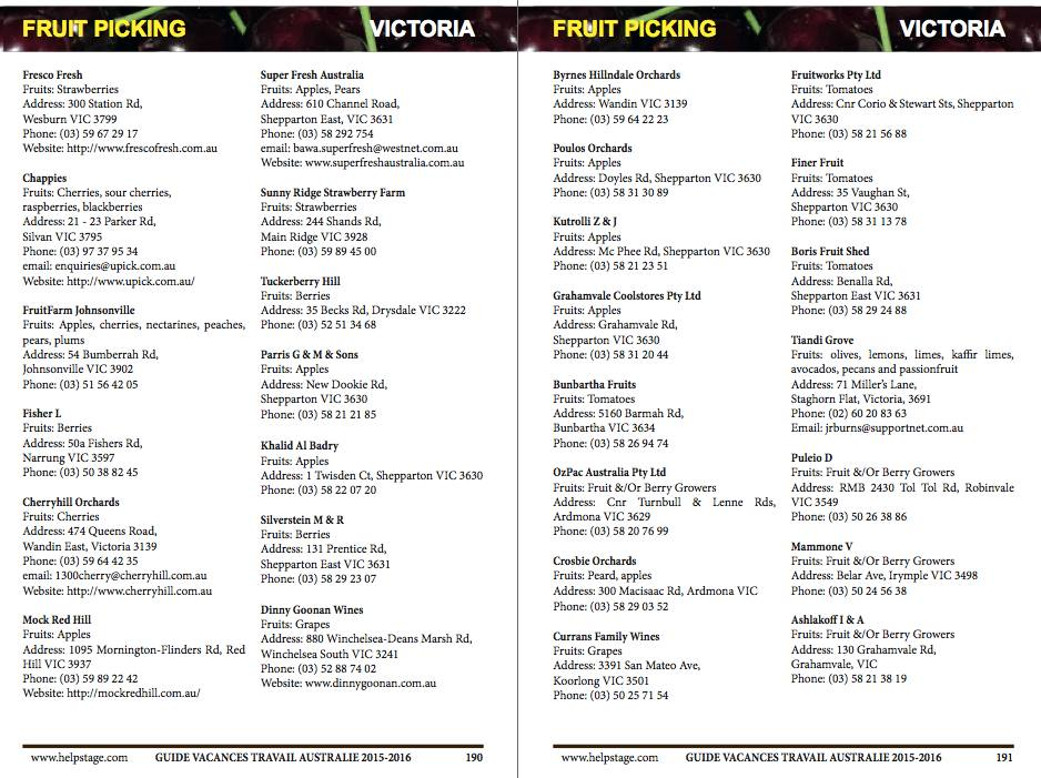 Adresses fruit picking Guide Visa Vacances Travail Australie 4