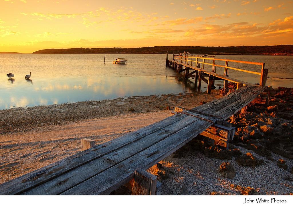 Wooden jetty Coffin Bay South Austrlia.