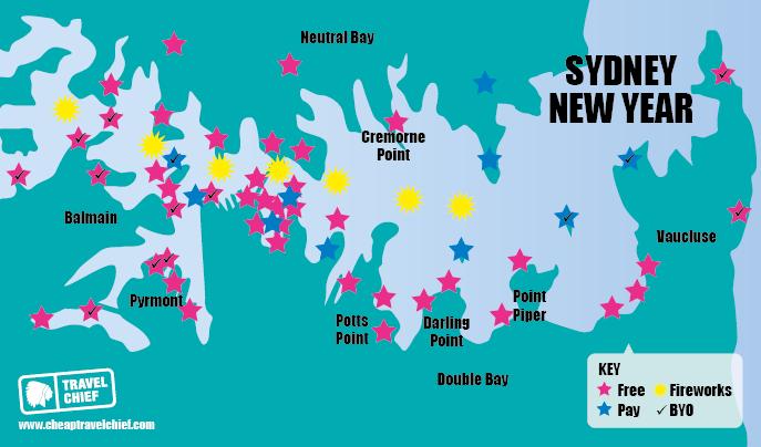 Carte des spots pour fêter le nouvel an à Sydney